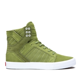 Supra Womens SKYTOP Moss/white High Top Shoes | CA-84819